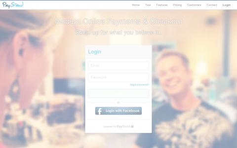 Screenshot of Login Page paystand.com - Start using Paystand - captured July 18, 2014