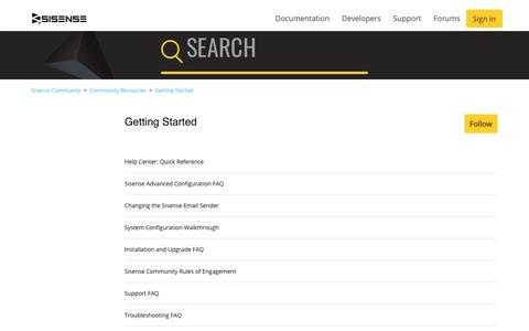 Screenshot of Support Page sisense.com - Getting Started – Sisense Community - captured May 2, 2019