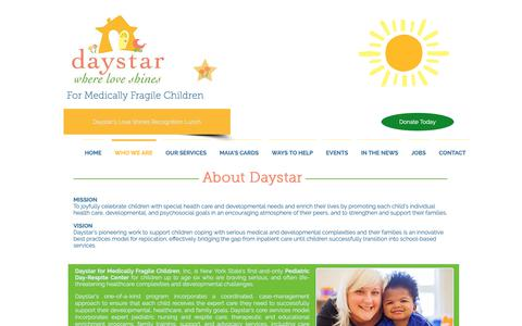 Screenshot of About Page daystarkids.org - Daystar Kids - Where Love Shines | WHO WE ARE - captured Oct. 7, 2018