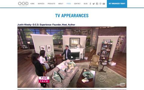 Screenshot of Press Page ocdexperience.com - O.C.D. Experience | Press & TV Appearances - captured Dec. 18, 2016