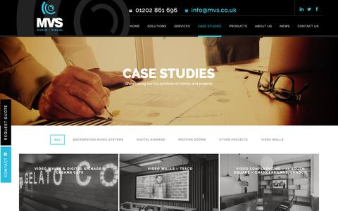 Screenshot of Case Studies Page mvsav.co.uk - Audio visual case studies from MVS Audio Systems - captured Feb. 2, 2016