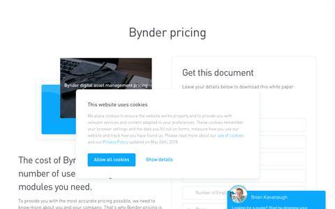 Screenshot of Pricing Page bynder.com - Bynder pricing - captured Jan. 11, 2019