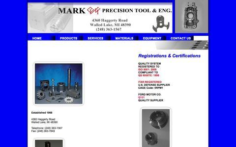 Screenshot of Home Page markprecisiontool.com - Mark Precision Tool & Eng. - captured Oct. 1, 2014