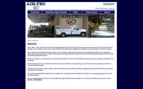 Screenshot of About Page airtecperforms.com - Air-Tec - About Us - captured Oct. 6, 2017