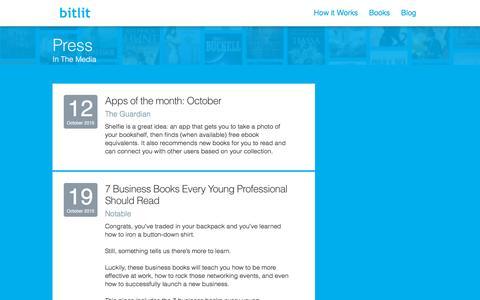 Screenshot of Press Page bitlit.com - Press | Shelfie - Take a Shelfie. Connect with Readers. Get free ebooks. - captured Oct. 21, 2015
