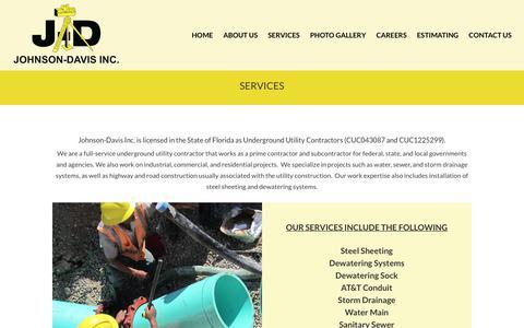 Screenshot of Services Page johnsondavis.com - Services - Johnson-Davis Inc. - captured Nov. 9, 2018