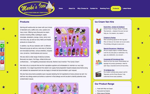Screenshot of Products Page markesices.co.uk - Soft Ice cream with lots of toppings and sauces for Hire. - captured Sept. 30, 2014
