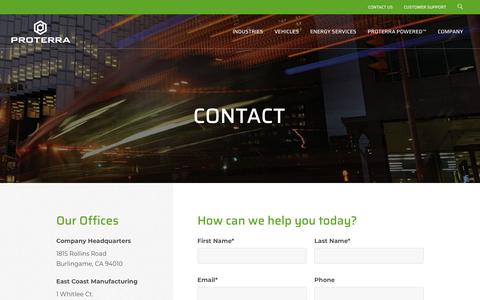 Screenshot of Contact Page proterra.com - Contact   Proterra - captured July 22, 2019