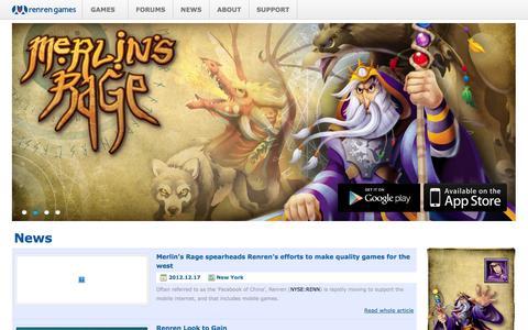 Screenshot of Press Page renrenusa.com - Renren Games - captured Oct. 26, 2014