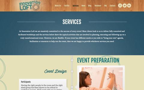 Screenshot of Services Page innovationloft.com - Services | Innovation Loft | UNLEASH YOUR TEAM'S POTENTIAL! - captured Sept. 30, 2014