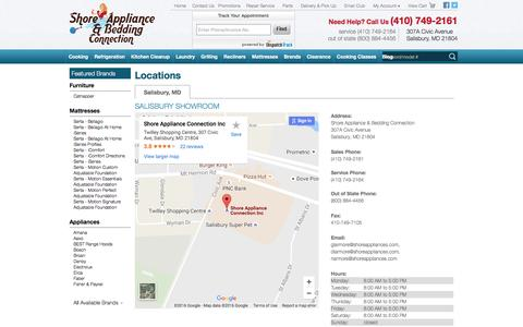 Screenshot of Contact Page Locations Page shoreappliances.com - Contact Shore Appliance & Bedding Connection in Maryland - captured Dec. 1, 2016
