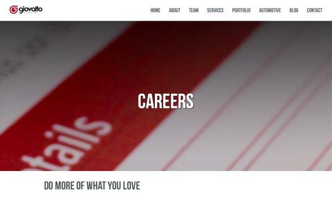Screenshot of Jobs Page giovatto.com - Careers | Giovatto Advertising - captured Oct. 27, 2014