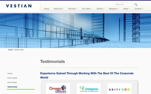 Screenshot of Testimonials Page vestianglobal.com - Testimonials | Workplace Services Solution | Vestianglobal - captured Jan. 17, 2016