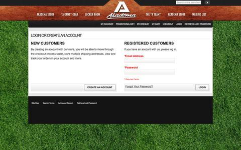 Screenshot of Login Page akademapro.com - Customer Login - captured Oct. 4, 2014