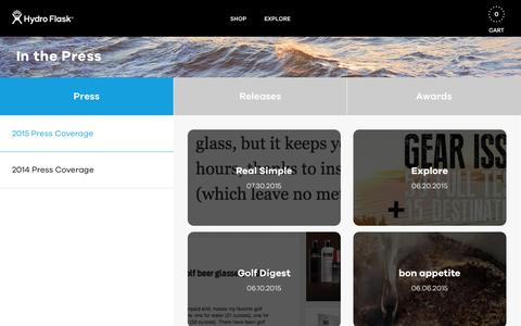 Screenshot of Press Page hydroflask.com - Hydro Flask | Stainless Steel Vacuum Insulated Water Bottles - captured Sept. 22, 2015