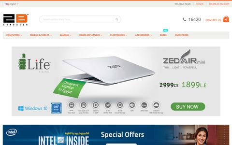 Screenshot of Home Page 2bcomputer.com - 2B Computer - Buy Online | laptop|Mobiles |Tablets |Gaming best prices in Egypt - captured Oct. 29, 2017