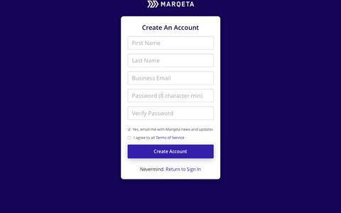 Screenshot of Signup Page marqeta.com - Marqeta - captured Oct. 1, 2018