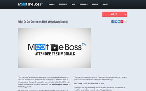 Screenshot of Testimonials Page meettheboss.tv - Testimonial - captured Oct. 27, 2014
