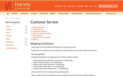 Screenshot of Support Page harveyfurnishings.co.nz - Customer Service - captured Sept. 27, 2018