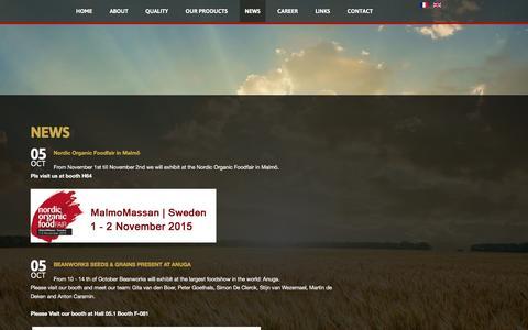 Screenshot of Press Page beanworks.eu - News - Beanworks Seeds & Grains - captured Feb. 7, 2016