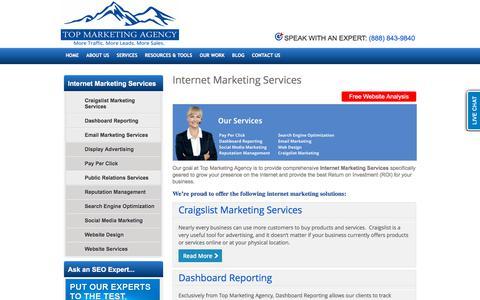 Screenshot of Products Page topmarketingagency.com - Internet Marketing Services - Search Engine Optimization, Website Design & Internet Marketing | Top Marketing Agency - captured Sept. 21, 2018