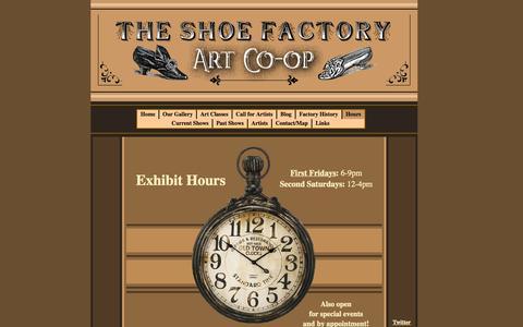 Screenshot of Hours Page shoefactoryarts.com - Hours - captured Oct. 6, 2014