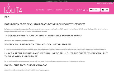 Screenshot of FAQ Page designsbylolita.com - Frequently Asked Questions - Designs by Lolita - captured Oct. 10, 2018