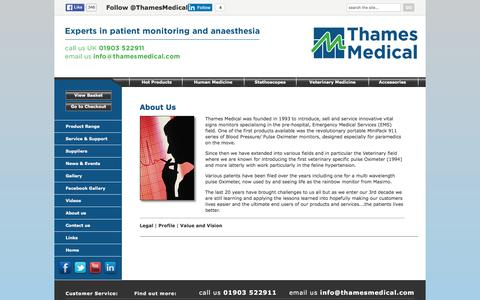 Screenshot of About Page thamesmedical.com - About Us > 			Vital Signs Monitors for healthcare professionals, Sussex > 		Thames Medical - captured Feb. 25, 2016