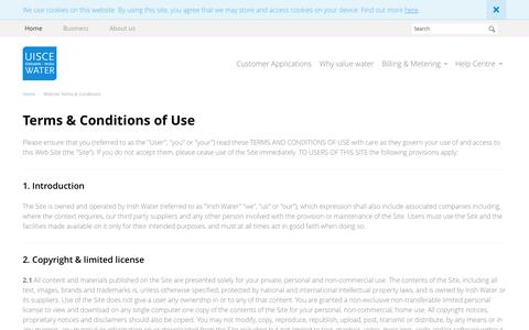 Screenshot of Terms Page water.ie - Terms & Conditions | Irish Water - captured Oct. 6, 2014