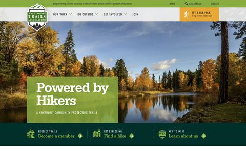 Screenshot of Home Page wta.org - Washington Trails Association - captured Sept. 29, 2018