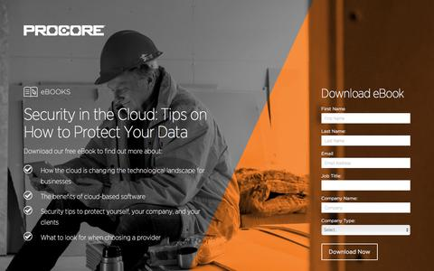 Screenshot of Landing Page procore.com - Security in the Cloud: Tips on How to Protect Your Data - captured March 15, 2016