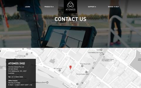 Screenshot of Contact Page atomos.com - Contact Us  - Atomos - captured May 11, 2017