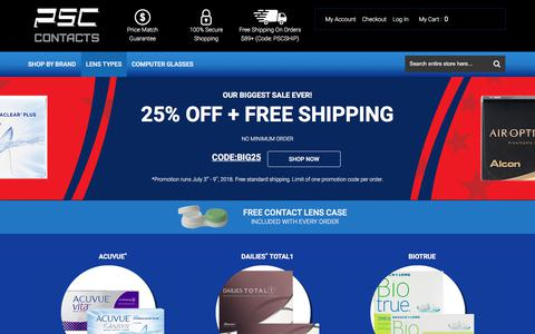 Screenshot of Home Page pscontacts.com - PSContacts - Buy Contact Lenses Online - captured July 8, 2018