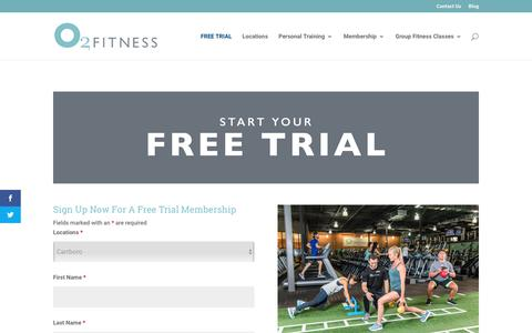 Screenshot of Trial Page o2fitnessclubs.com - Free Trial | O2 Fitness Raleigh, North Carolina and Charleston, South Carolina Fitness Clubs - captured Dec. 20, 2017