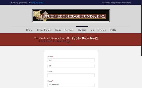 Screenshot of Contact Page turnkeyhedgefunds.com - Contact – Turn Key Hedge Funds - captured Dec. 11, 2018