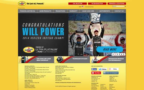 Screenshot of Home Page pennzoil.com - Motor Oil, Synthetic Oil, Transmission Fluid - Pennzoil - captured Sept. 19, 2014