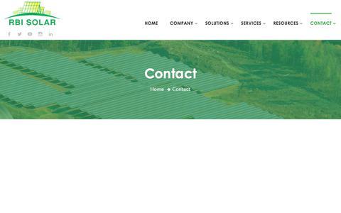 Screenshot of Contact Page rbisolar.com - Contact – RBI Solar Inc - captured May 17, 2019