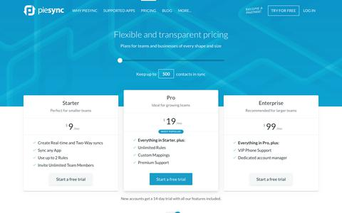 Screenshot of Pricing Page piesync.com - Plans and pricing - PieSync - captured Sept. 29, 2018