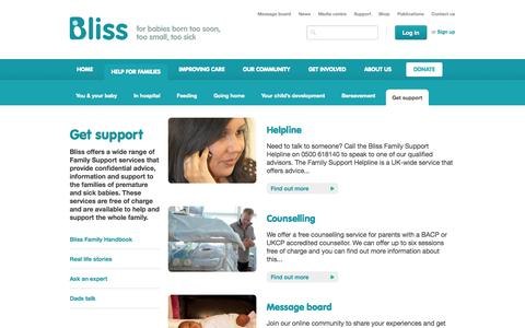 Screenshot of Support Page bliss.org.uk - Bliss - captured Sept. 30, 2014