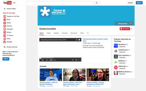 Screenshot of YouTube Page youtube.com - CareerJunction  - YouTube - captured Oct. 22, 2014