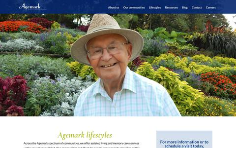 Screenshot of Services Page agemark.com - Agemark Senior Lifestyle Services | Agemark Senior Living Communities - captured July 29, 2018