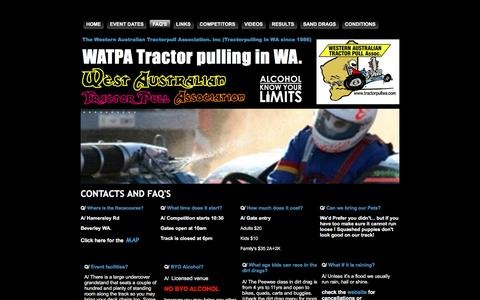 Screenshot of FAQ Page tractorpullwa.com - Contacts And FAQ's - captured June 15, 2016
