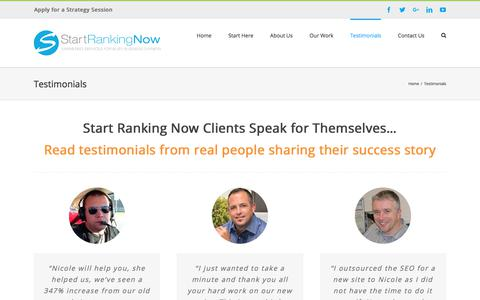 Screenshot of Testimonials Page startrankingnow.com - Start Ranking Now Client Testimonials - captured Nov. 8, 2017