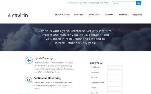Screenshot of Trial Page cavirin.com - SaaS Hybrid Cloud Security - captured Jan. 14, 2018