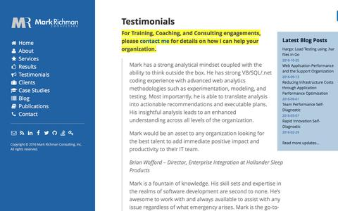 Screenshot of Testimonials Page markrichman.com - Testimonials - Mark Richman - Cloud Application Performance - captured Nov. 6, 2016