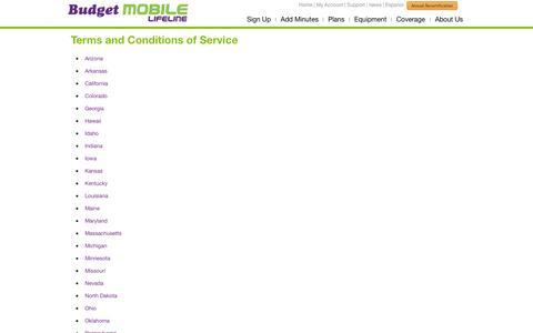 Screenshot of Terms Page budgetmobile.com - Budget Mobile - captured Sept. 18, 2014