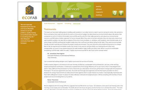 Screenshot of Testimonials Page ecofab.net - Customer Testimonials | ecoFAB - captured Sept. 29, 2014
