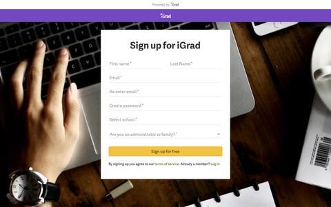Screenshot of Signup Page igrad.com - Sign up for iGrad - captured March 8, 2017
