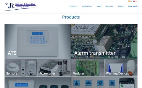 Screenshot of Products Page jrsecurity.com - Products - JR Sistemas de Seguridad - captured Nov. 19, 2016