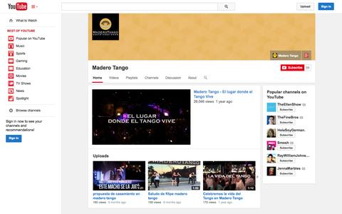 Screenshot of YouTube Page youtube.com - Madero Tango  - YouTube - captured Oct. 25, 2014